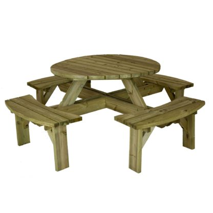 An Image of Timber Round Picnic Table Natural