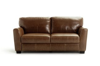 An Image of Habitat Milford 3 Seater Leather Sofa - Tan