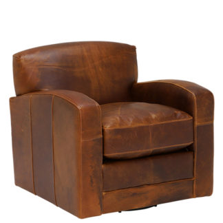 An Image of New Kilda Leather Swivel Chair