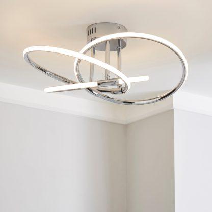 An Image of Rhona LED Flush Ceiling Fitting Chrome