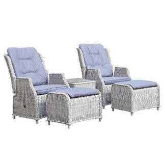 An Image of Pamplona Dual Reclining Garden Lounge Set in Flint Weave with Grey Fabric
