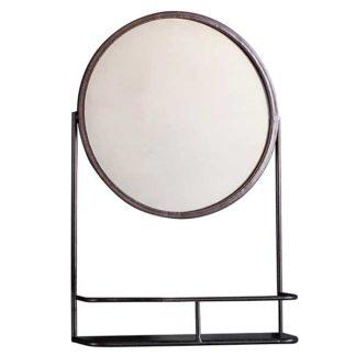 An Image of Circular Mirror with Shelf