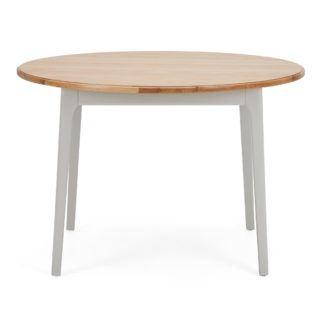 An Image of Freya Round Dining Table Grey and Brown