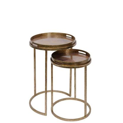 An Image of Set Of 2 Atlas Side Tables Antique Gold