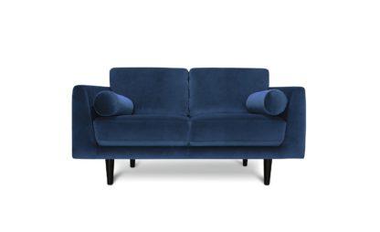 An Image of Habitat Jackson 2 Seater Velvet Sofa - Blue