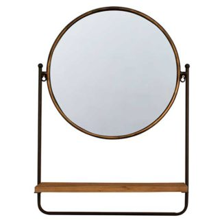 An Image of Brass Mirror with Shelf