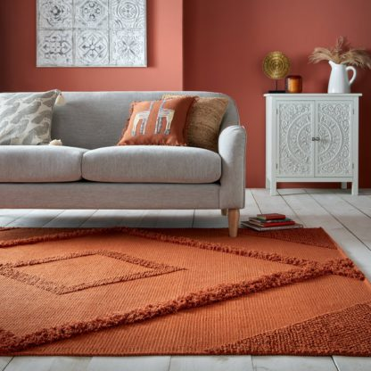 An Image of Mala Handwoven Rug Orange