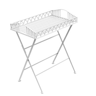 An Image of Foldable Wrought Iron White Butler Tray White
