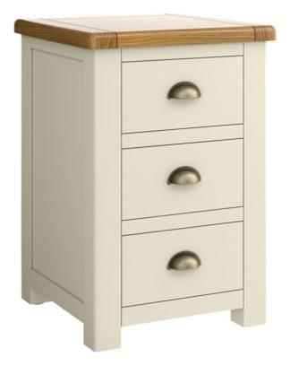 An Image of Habitat Kent 3 Drawer Bedside Table - Cream & Oak