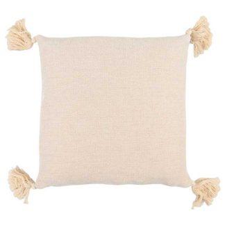 An Image of Beige Tassel Cushion