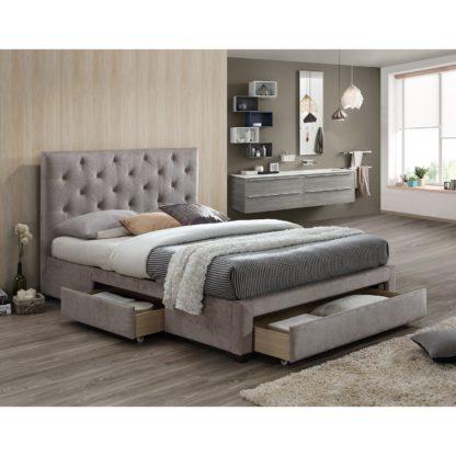An Image of Monet Mink Fabric Bed Frame Mink (Brown)