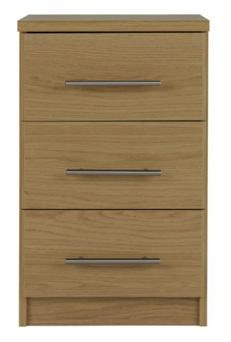 An Image of Argos Home Normandy 3 Drawer Bedside Table - Oak Effect