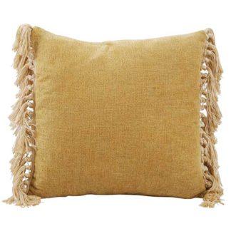 An Image of Olive Fringe Cushion