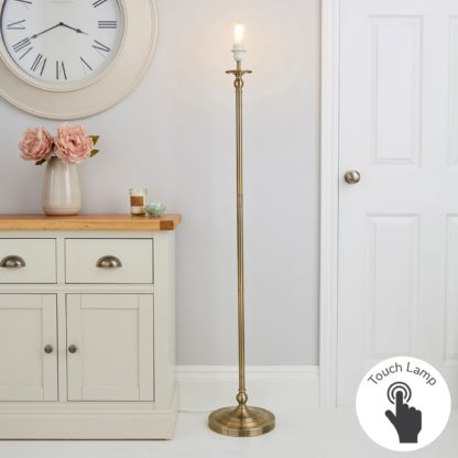 An Image of Irene Touch Dimmable Antique Brass Floor Lamp Base Brass