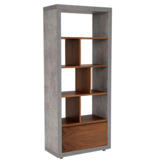 An Image of Halmstad Shelving Unit Concrete and Walnut
