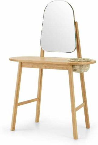 An Image of Pipel Dressing Table, Natural Oak & Rattan