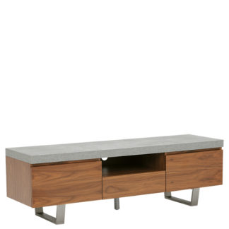 An Image of Halmstad Large TV Stand Concrete and Walnut