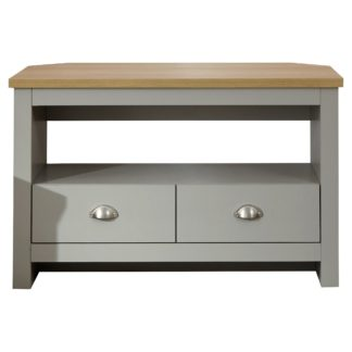 An Image of Lancaster Corner TV Stand Grey and Brown