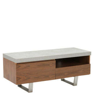 An Image of Halmstad Small TV Stand Concrete and Walnut