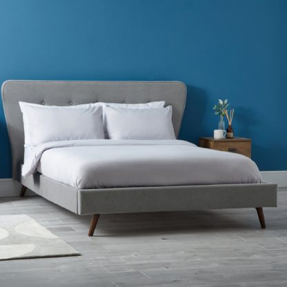 An Image of Mid Century Upholstered Bed - Light Grey Light Grey