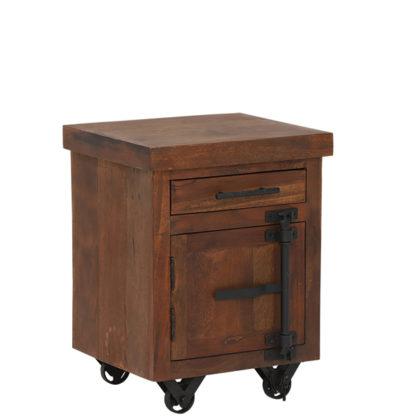An Image of Little Tree Furniture Hyatt Reclaimed Wood Side Table on Wheels Dark