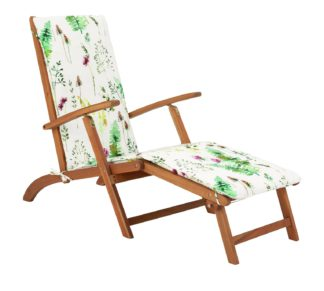 An Image of Argos Home Wooden Steamer Chair with Moorland Cushion