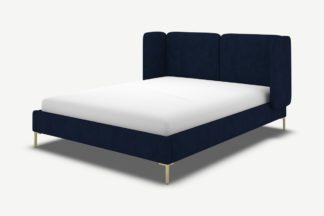An Image of Ricola Double Bed, Prussian Blue Cotton Velvet with Brass Legs