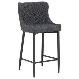 An Image of Rivington Fabric Counter Stool Dark Grey