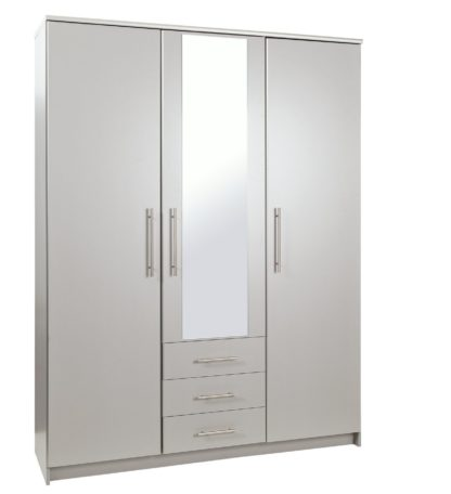 An Image of Argos Home Normandy Large 3 Dr 3 Drw Mirror Wardrobe - Grey