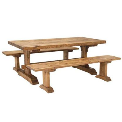 An Image of Covington Dining Table and 2 Benches