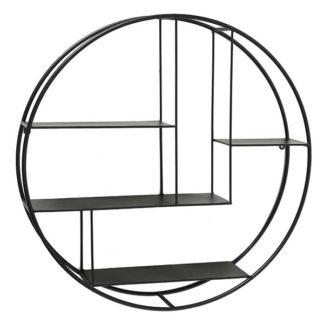 An Image of Black Round Wall Shelf Black