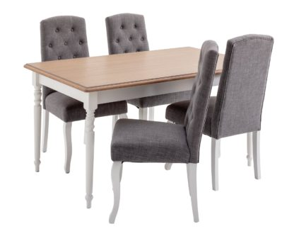 An Image of Argos Home Le Marais Oak Veneer Table & 4 Grey Chairs