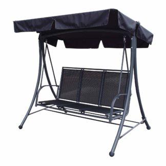 An Image of Sorrento 3 Seater Black Swing Seat Black