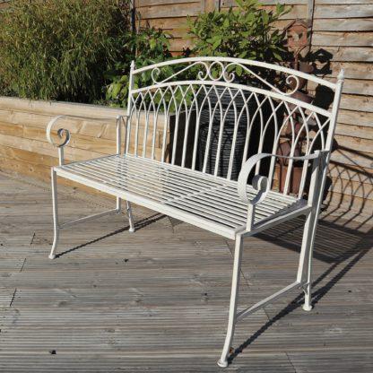 An Image of Wrought Iron 2 Seater White Bench White