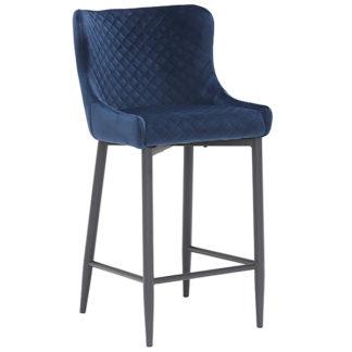 An Image of Rivington Fabric Counter Stool Dark Blue