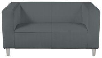 An Image of Habitat Moda Compact 2 Seater Fabric Sofa - Grey
