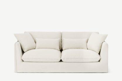 An Image of Kasiani 3 Seater Sofa, Off White Cotton & Linen Mix