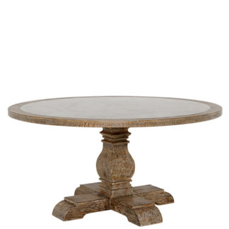 An Image of Woolton 152cm Round Dining Table Mid Burnt Oak and Bluestone