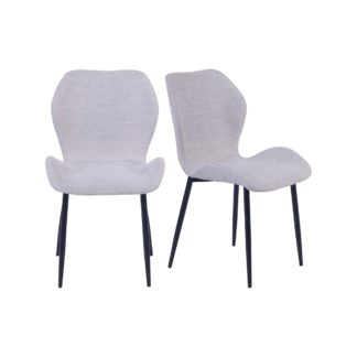 An Image of Aren Set of 2 Grey Boucle Dining Chairs Grey