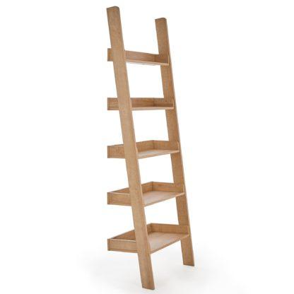 An Image of Fulton Oak Effect Ladder Bookcase Brown