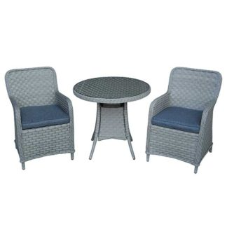 An Image of Coniston Round Garden Bistro Set in Musky Grey Weave with Urban Black Cushions