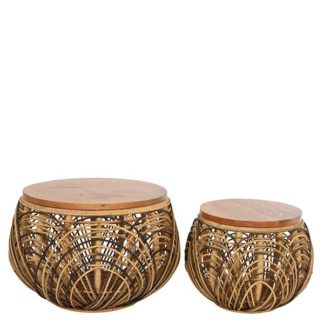 An Image of Set of 2 Rattan Side Tables