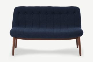 An Image of Halbert 2 Seater Sofa, Midnight Blue Weave