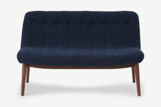 An Image of Halbert 2 Seater Sofa, Midnight Blue Weave