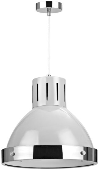 An Image of Vermont Pendant Light - Light Grey and Chrome