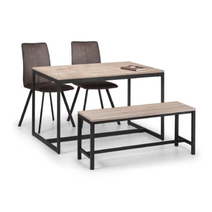 An Image of Tribeca Dining Table, Bench & 2 Monroe Chairs Black