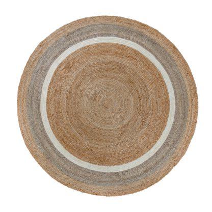 An Image of Natural Jute Border Circle Rug Natural