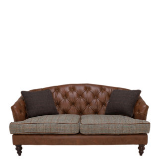 An Image of Harris Tweed Dalmore Petit Sofa Fabric and Leather