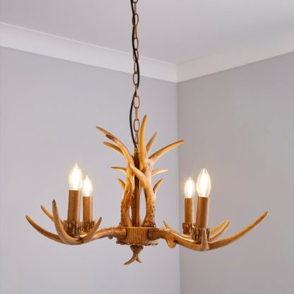An Image of Antler 4 Light Candelabra Wood Effect Ceiling Fitting Brown