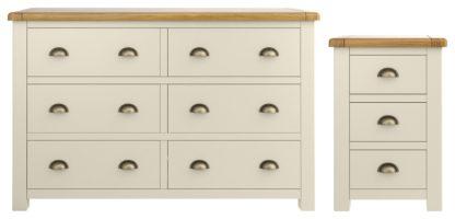 An Image of Habitat Kent Bedside & 3+3 Drawer Set - Cream & Oak
